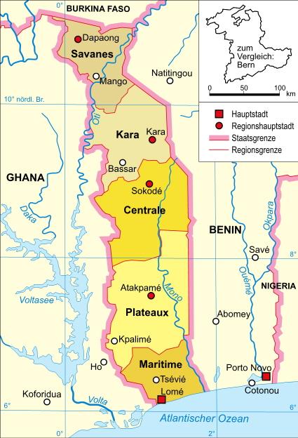 Politische Karte von Togo