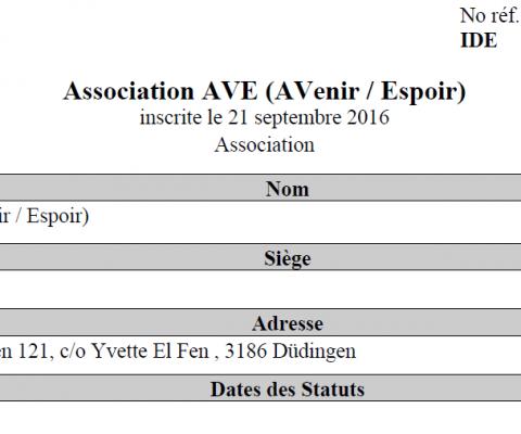 Verein AVE ist im Handelsregister
